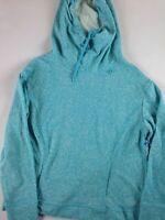Be Inspired Hoodie Long Sleeve Full Neck Womens Large Short Sweatshirt NEW Blue