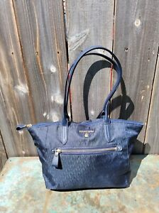 MICHAEL KORS NAVY BLUE KELSEY SIGNATURE TOTE SHOULDER BAG NYLON SAFFIANO LEATHER
