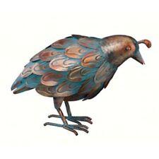 Copper Patina Quail Head Down Metal Bird Yard Sculpture Garden Statue