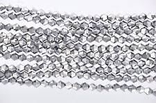 50 SILVER METALLIC Faceted Bicone Crystal Glass Beads 6 x 6mm bgl0509