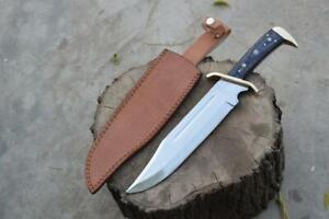 17'' Custom Handmade D2 Timber Rattler Bowie Hunting knife Replica Wood Handle