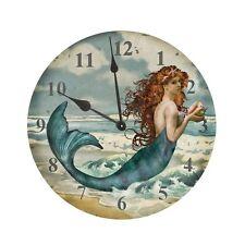 "Mermaid Clock Tin 11.75""D Nautical Tropical Home Decor Hanging Wall Siren Time"