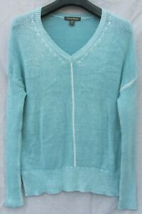 TOMMY BAHAMA Blue Sunwashed Intentionally Faded Tunic Linen BLD WOMENS M SWEATER