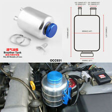 Car Engineering Fuel Power Steering Fluid Reservoir Racing Breather Tank Silver