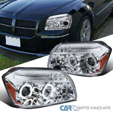 Fit Dodge 05-07 Magnum LED Halo Clear Projector Headlights Head Lamps Left+Right