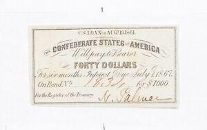 1861 $40 Confederate States of America - Authentic Civil War Bond Note *070