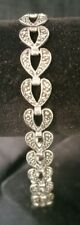 """Sterling Silver Womens Tennis Bracelet 7.5"""" Dainty Marcasite Heart 06"""