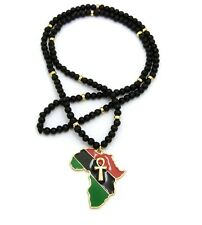 """NEW ANKH CROSS AFRICA PENDANT & 30"""" WOODEN BEAD CHAIN HIP HOP NECKLACES - RC2517"""