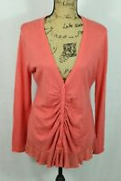 Anthropologie ROSIE NEIRA XL Wool Blend Cardigan Lace Trim Coral Orange Sweater