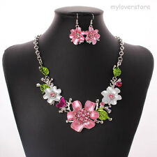 Statement Kristall Strass Blume Halskette Kette Collier Ohrring Mode Schmuck Set