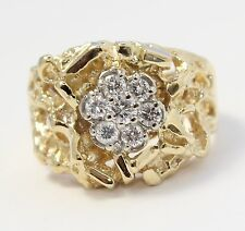 14k Yellow Gold Diamond Nugget Style Mens Ring