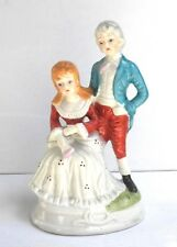 DECORATIVE COLLECTIBLE VICTORIAN HAND PAINTED  FIGURINE OF A MAN AND WOMAN