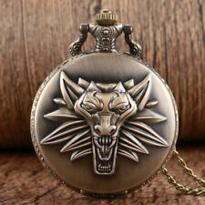 Vintage Lion Pattern Men Women Quartz Pocket Watch Pendant Chain Full Hunter