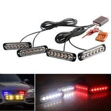 4x Car 6LED Red/White Police Strobe Flash Light Dash Emergency Warning Lamp Kit