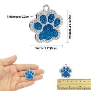 Custom Engraved Pet Dog Cat  Tags Personalized Bone/Paw/Round & Free Split ring