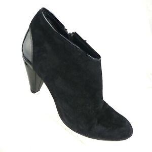Cole Haan Women's Booties US 8B NikeAir Black Suede Patent Leather Stacked Heel