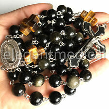 XL 10MM GOLD Black Obsidian BEADS catholic 5 DECADE ROSARY CROSS NECKLACE GIFTS