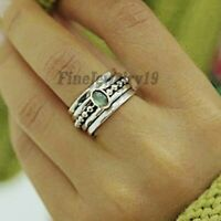 Labradorite Ring Solid 925 Sterling Silver Spinner Ring Meditation Jewelry A09
