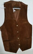 Don't Stop Mens Brown Leather Suede  Vest Size M Cowboy Steampunk Costume Worn