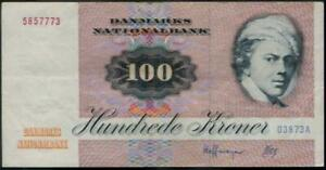 Denmark 100 Kroner Banknote 1972