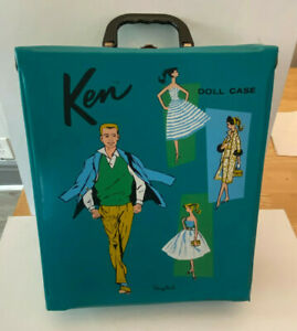Vintage 1961 Mattel Barbie Ken Doll Green Case w/ Accessory Drawers    * 3 DAY