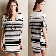 Anthropologie Puella Grey Striped Knit Elevation Dress Cocoon Tunic Shift M 8 10