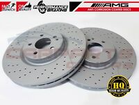 FOR MERCEDES A45 AMG FRONT DRILLED GROOVED PERFORMANCE BRAKE DISCS BRAKING