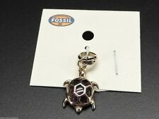 Fossil Turtle Charm For Bracelet Necklace Goldtone Tortoise Stainless New! NWT