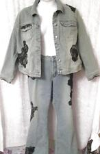 DELUXE FASHION BUG 2 PC SEXY LACE DENIM 2 PC DENIM JEANS OUTFIT PLUS SZ 22/24W 3