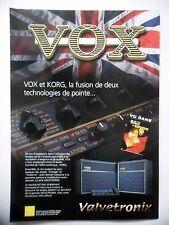 PUBLICITE-ADVERTISING :  Amplis VOX - KORG  04/2002 Valvetronix