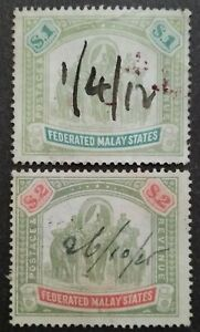 Federated Malay States 1904-22 Wmk MCCA Malaya Indian Elephants $1 & $2 -2v Used