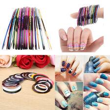 10 Color Rolls Striping Tape Line Nail Sticker DIY Kit Nail Art UV Gel Tips MK62