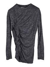Isabel Marant Etoile grey Malo top with side ruffle