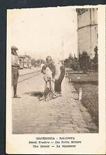 POSTCARD Macedonia Thessaloniki Small Traders The Knife Grinder c1915 - perf