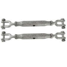 2x Rigging Screw 16mm Galvanised Jaw to Jaw 2 PACK Turnbuckle Straining