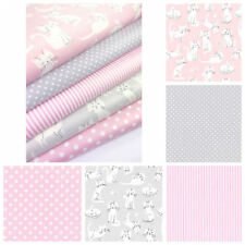 Pink and Grey Fat Quarters or 5FQ Cat Fabric Bundle Whiskers and Tails Craft
