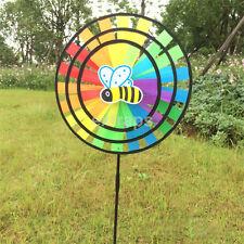 Round Cloth Rainbow Windmill Rotating Wind Spinner Hand-held Children Kids Toy c