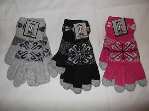 LADIES THERMAL ANGORA WOOL TOUCH SCREEN MOBILE PHONE IPAD WINTER GLOVES