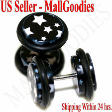 1279 Fake Cheater Illusion Faux Ear Plugs Black & White Stars Design 00G 10mm