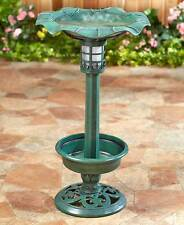 The Lakeside Collection Green Solar Lighted Birdbath with Planter