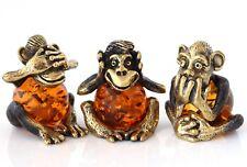 3 Wise Monkeys Brass Figurines Baltic Amber Speak See Hear No Evil Feng Shui
