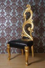 EN PROMOTION: Imposante chaise à haut dossier cuir et doré à la feuille d'or