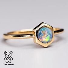 Hexagon Design Australian Black Opal Engagement Ring 18K Yellow Gold Wedding