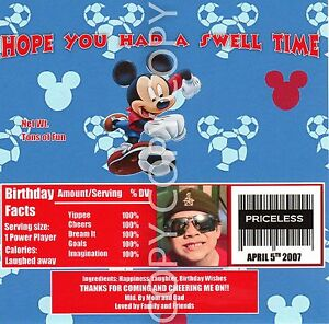 Mickey Mouse  Candy Bar Wrappers Soccer Birthday Party Favor personalized 6pc