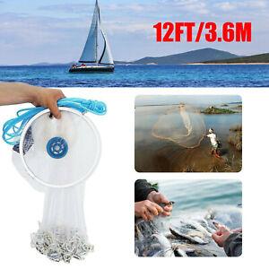 12FT/3.6m Hand Throw Fishing Cast Net Spin Bait Sinker Mesh Equipment Diameter