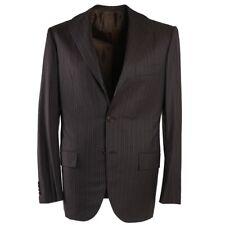NWT $8995 KITON Chocolate Brown Chalk Stripe Soft Super 180s Wool Suit 38 R