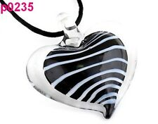 Stylish Stripe Heart Lampwork Glass Pendant Necklace p0235