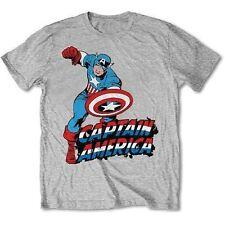 Marvel Comics Simple Captain America Mens Grey TS Small Tshirt
