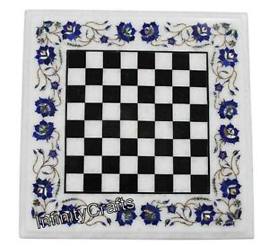 24 x 24 Inches White Chess Table Top Semi Precious Stones Inlaid Coffee Table
