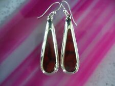 Silver Teardrop Earrings Red Jasper Sterling